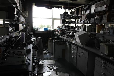 A picture showing the ruined lab in the St Andrews fire aftermath